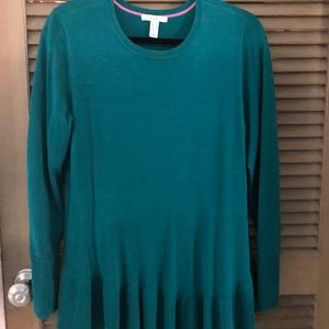 Isaac Mizrahi Live crew neck sweater. Forest Teal